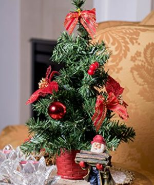 Mini Artificial Christmas Tree With Red Bows By Clever Creations Best Choice Christmas Decoration For Table And Desk Tops Small 16 Tall Christmas Pine Tree Perfect For Your Home Or Office 0 3 300x360