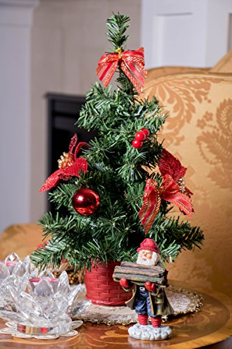 Mini Artificial Christmas Tree With Red Bows By Clever Creations Best Choice Christmas Decoration For Table And Desk Tops Small 16 Tall Christmas Pine Tree Perfect For Your Home Or Office 0 3