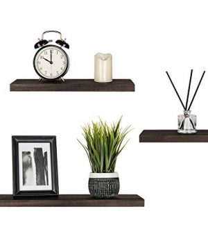 Mkono Floating Shelves Wood Wall Shelf Rustic Wall Mount Pine Shelf Set Of 3 Home Decor Photo Display Ledges With Invisible Bracket For Living RoomBedroomBathroomKitchen 0 300x360