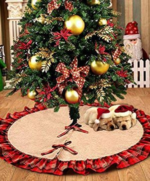 Morinostation 48inches Large Plaid Christmas Tree Skirts Red Black Ruffle Edge Linen Burlap Tree Skirt For Xmas Party Holiday Decorations 0 300x360