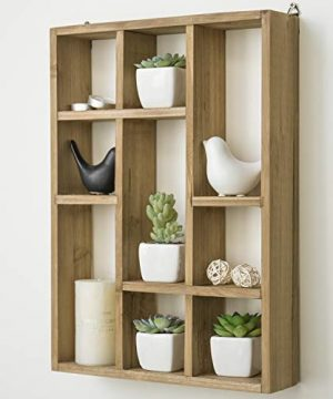 MyGift 15 Inch Wall Mounted Vertical Or Horizontal 9 Slot Rustic Wood Floating ShelvesFreestanding Shadow Box Brown 0 0 300x360