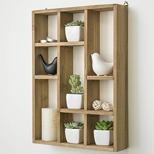 MyGift 15 Inch Wall Mounted Vertical Or Horizontal 9 Slot Rustic Wood Floating ShelvesFreestanding Shadow Box Brown 0 0