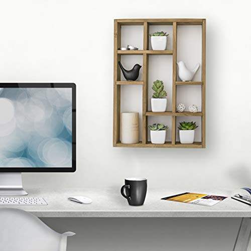 MyGift 15 Inch Wall Mounted Vertical Or Horizontal 9 Slot Rustic Wood Floating ShelvesFreestanding Shadow Box Brown 0 1