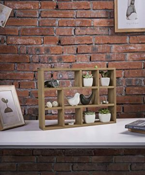 MyGift 15 Inch Wall Mounted Vertical Or Horizontal 9 Slot Rustic Wood Floating ShelvesFreestanding Shadow Box Brown 0 3 300x360