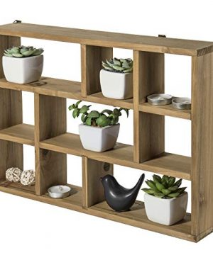 MyGift 15 Inch Wall Mounted Vertical Or Horizontal 9 Slot Rustic Wood Floating ShelvesFreestanding Shadow Box Brown 0 300x360