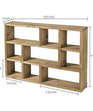 MyGift 15 Inch Wall Mounted Vertical Or Horizontal 9 Slot Rustic Wood Floating ShelvesFreestanding Shadow Box Brown 0 5 300x360