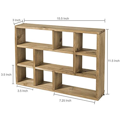 MyGift 15 Inch Wall Mounted Vertical Or Horizontal 9 Slot Rustic Wood Floating ShelvesFreestanding Shadow Box Brown 0 5
