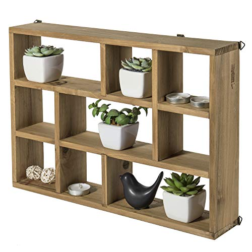 MyGift 15 Inch Wall Mounted Vertical Or Horizontal 9 Slot Rustic Wood Floating ShelvesFreestanding Shadow Box Brown 0