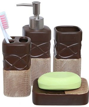 MyGift 4 Piece Brown Bathroom Accessories Set With Toothbrush Holder Tumbler Soap Dish Liquid Soap Dispenser 0 300x360