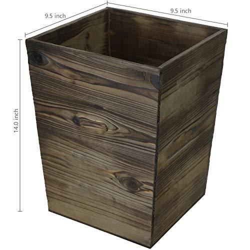 MyGift Dark Brown Wood Waste Bin 14 Inch Wastebasket 0 1