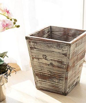 MyGift Farmhouse Style Torched Wood Square Wastebasket Bin With Decorative Metal Brackets 0 0 300x360