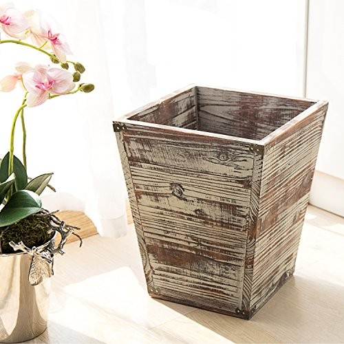 MyGift Farmhouse Style Torched Wood Square Wastebasket Bin With Decorative Metal Brackets 0 0