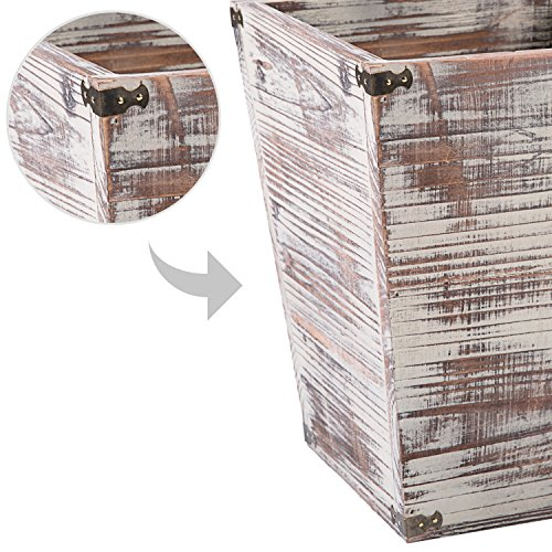 MyGift Farmhouse Style Torched Wood Square Wastebasket Bin With Decorative Metal Brackets 0 3