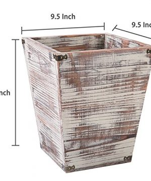 MyGift Farmhouse Style Torched Wood Square Wastebasket Bin With Decorative Metal Brackets 0 4 300x360