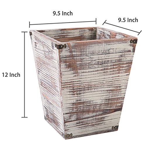 MyGift Farmhouse Style Torched Wood Square Wastebasket Bin With Decorative Metal Brackets 0 4