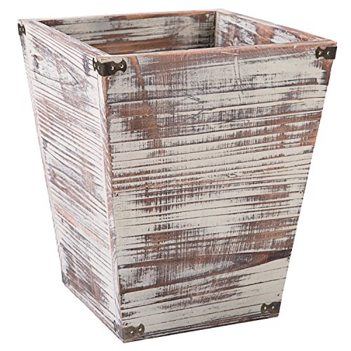 MyGift Farmhouse Style Torched Wood Square Wastebasket Bin With Decorative Metal Brackets 0
