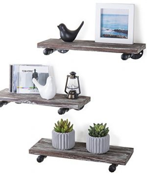 MyGift Urban Rustic Wall Mounted Torched Wood Floating Shelves Set Of 3 0 300x360