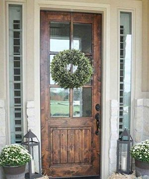 NAHUAA Boxwood Wreath For Front Door Decor 17 Inches Artificial Greenery Wreath Farmhouse Garland Home Office Housewarming Gift Greenery Decorations 0 0 300x360