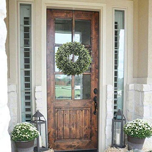 NAHUAA Boxwood Wreath For Front Door Decor 17 Inches Artificial Greenery Wreath Farmhouse Garland Home Office Housewarming Gift Greenery Decorations 0 0