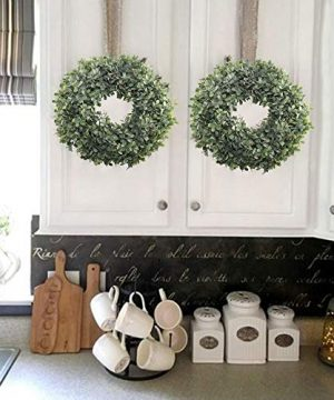 NAHUAA Boxwood Wreath For Front Door Decor 17 Inches Artificial Greenery Wreath Farmhouse Garland Home Office Housewarming Gift Greenery Decorations 0 1 300x360