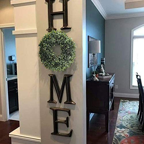 NAHUAA Boxwood Wreath For Front Door Decor 17 Inches Artificial Greenery Wreath Farmhouse Garland Home Office Housewarming Gift Greenery Decorations 0 2