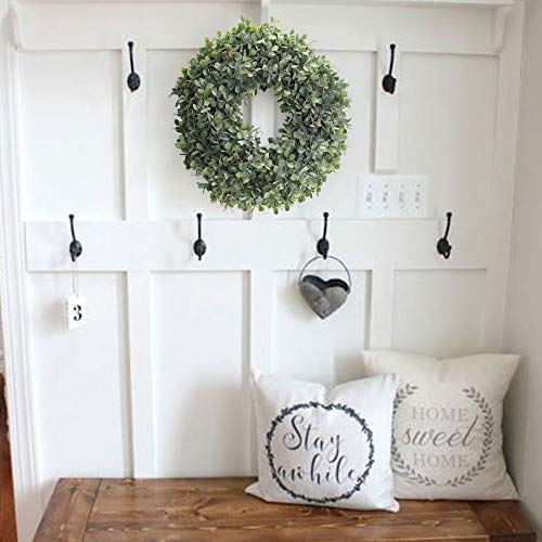 NAHUAA Boxwood Wreath For Front Door Decor 17 Inches Artificial Greenery Wreath Farmhouse Garland Home Office Housewarming Gift Greenery Decorations 0 3