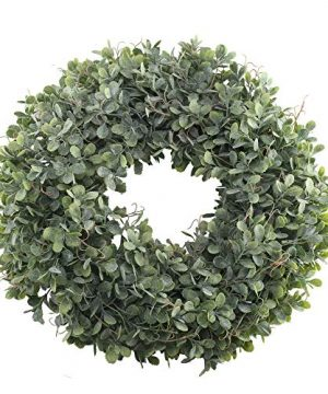 NAHUAA Boxwood Wreath For Front Door Decor 17 Inches Artificial Greenery Wreath Farmhouse Garland Home Office Housewarming Gift Greenery Decorations 0 300x360