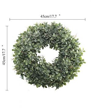 NAHUAA Boxwood Wreath For Front Door Decor 17 Inches Artificial Greenery Wreath Farmhouse Garland Home Office Housewarming Gift Greenery Decorations 0 5 300x360