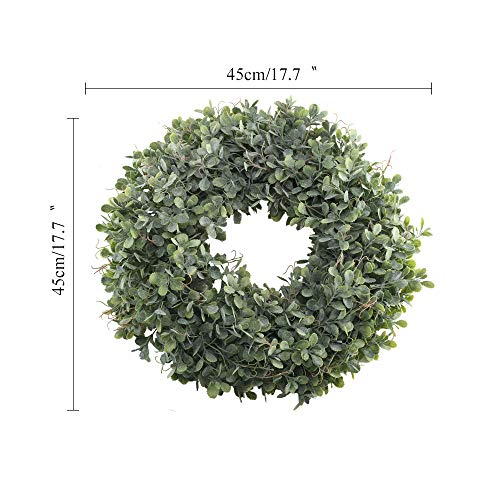 NAHUAA Boxwood Wreath For Front Door Decor 17 Inches Artificial Greenery Wreath Farmhouse Garland Home Office Housewarming Gift Greenery Decorations 0 5