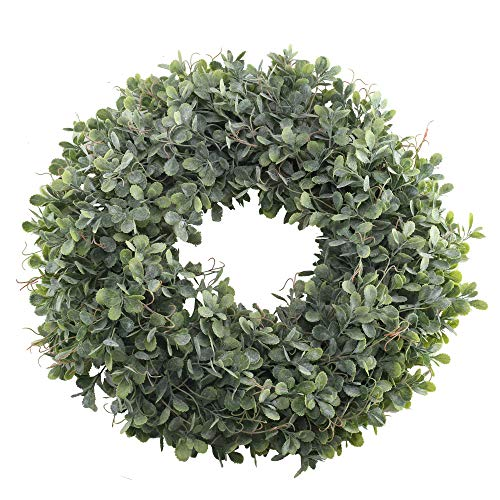 NAHUAA Boxwood Wreath For Front Door Decor 17 Inches Artificial Greenery Wreath Farmhouse Garland Home Office Housewarming Gift Greenery Decorations 0
