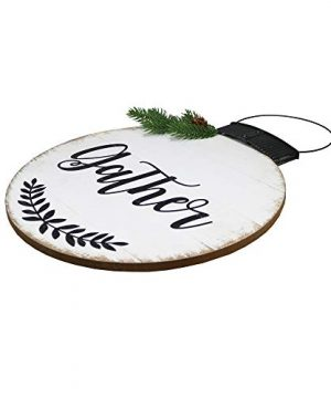 NIKKY HOME 15 X 22 Wood Round Christmas Hanging Wall Sign Plaque With Pine Branches And Pine Cone Decor Gather 0 0 300x360