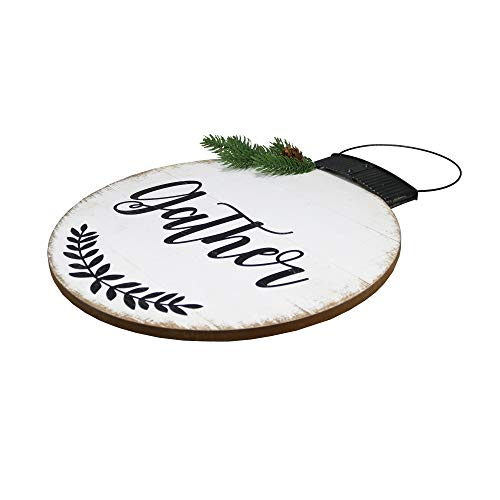 NIKKY HOME 15 X 22 Wood Round Christmas Hanging Wall Sign Plaque With Pine Branches And Pine Cone Decor Gather 0 0