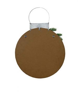 NIKKY HOME 15 X 22 Wood Round Christmas Hanging Wall Sign Plaque With Pine Branches And Pine Cone Decor Gather 0 1 300x360
