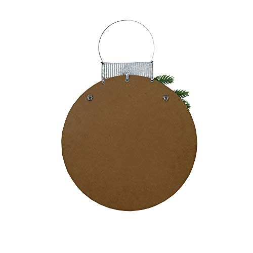 NIKKY HOME 15 X 22 Wood Round Christmas Hanging Wall Sign Plaque With Pine Branches And Pine Cone Decor Gather 0 1