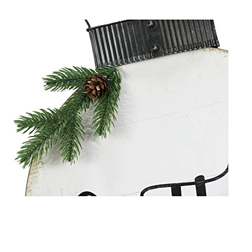 NIKKY HOME 15 X 22 Wood Round Christmas Hanging Wall Sign Plaque With Pine Branches And Pine Cone Decor Gather 0 2