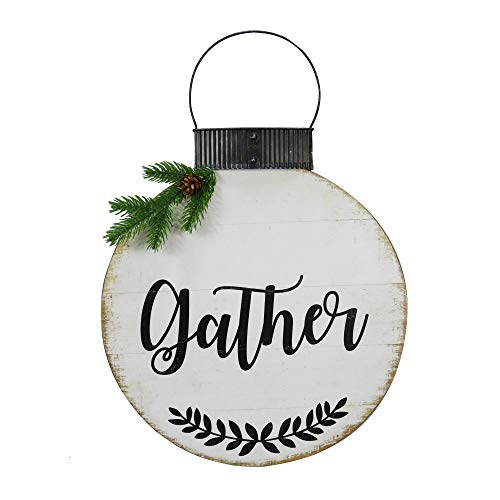 NIKKY HOME 15 X 22 Wood Round Christmas Hanging Wall Sign Plaque With Pine Branches And Pine Cone Decor Gather 0