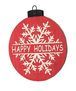 NIKKY HOME 16 X 18 Wood Round Christmas Hanging Wall Sign Plaque With Carved Snowflake Decor Happy Holidays 0 0 300x360