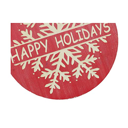 NIKKY HOME 16 X 18 Wood Round Christmas Hanging Wall Sign Plaque With Carved Snowflake Decor Happy Holidays 0 3