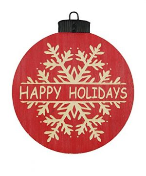 NIKKY HOME 16 X 18 Wood Round Christmas Hanging Wall Sign Plaque With Carved Snowflake Decor Happy Holidays 0 300x360