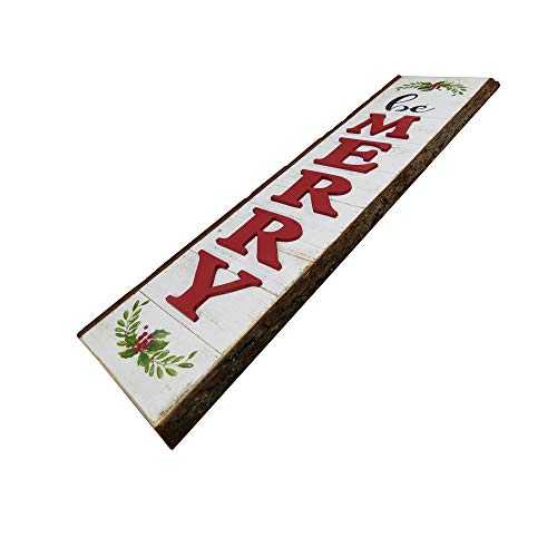NIKKY HOME 9 X 32 Rustic Be Merry Vertical Wood Wall Plaque Sign For Christmas Holiday Front Door Porch Decor 0 0