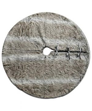 NIKKY HOME Luxury Grey Flannel Christmas Tree Skirt Holiday Ornaments 36 Inch 0 1 300x360