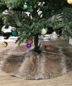 NIKKY HOME Luxury Grey Flannel Christmas Tree Skirt Holiday Ornaments 36 Inch 0 300x360
