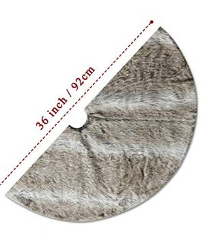 NIKKY HOME Luxury Grey Flannel Christmas Tree Skirt Holiday Ornaments 36 Inch 0 4 300x360
