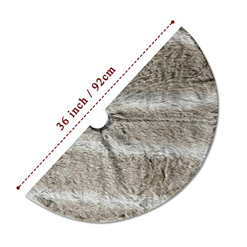 NIKKY HOME Luxury Grey Flannel Christmas Tree Skirt Holiday Ornaments 36 Inch 0 4