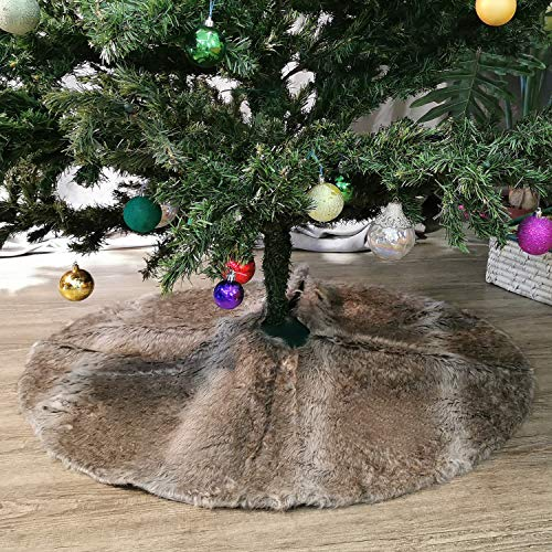 NIKKY HOME Luxury Grey Flannel Christmas Tree Skirt Holiday Ornaments 36 Inch 0