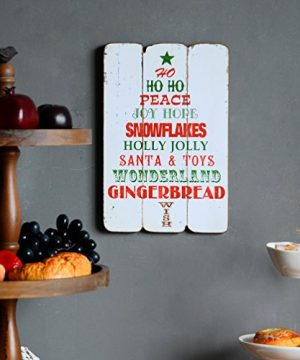 NIKKY HOME Rustic Christmas Wish Wooden Wall Decorative Sign 787 X 063 X 1187 Inches 0 0 300x360