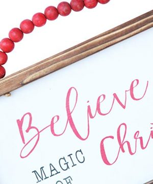 NIKKY HOME Wood Framed Christmas Hanging Wall Sign Plaque For Holiday Decor Believe In The Magic Of Christmas 16 X 8 0 0 300x360