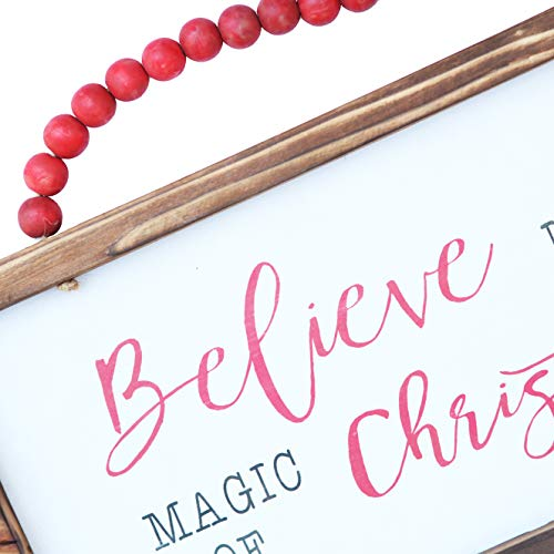 NIKKY HOME Wood Framed Christmas Hanging Wall Sign Plaque For Holiday Decor Believe In The Magic Of Christmas 16 X 8 0 0