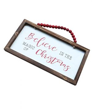 NIKKY HOME Wood Framed Christmas Hanging Wall Sign Plaque For Holiday Decor Believe In The Magic Of Christmas 16 X 8 0 2 300x360