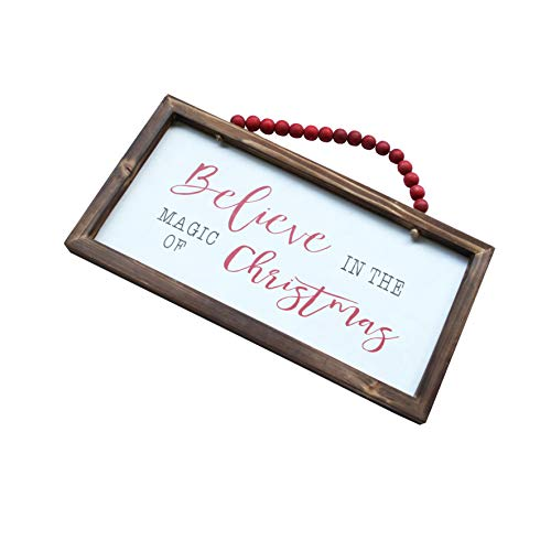 NIKKY HOME Wood Framed Christmas Hanging Wall Sign Plaque For Holiday Decor Believe In The Magic Of Christmas 16 X 8 0 2